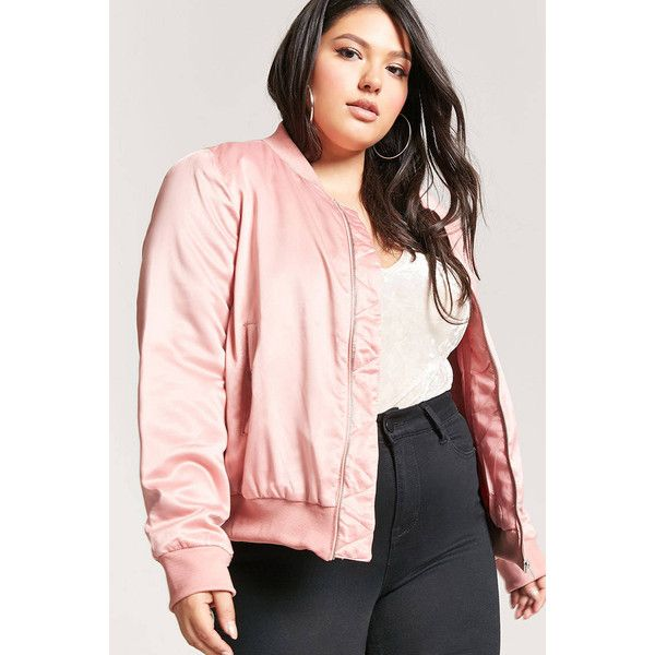 Forever21 Plus Size Satin Bomber Jacket ($23) ❤ liked on Polyvore featuring plus size women's fashion, plus size clothing, plus size outerwear, plus size jackets, mauve, pink satin jacket, pink flight jacket, utility jacket, mauve jacket and pink utility jacket