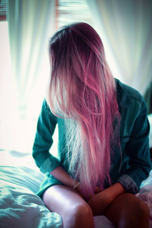 Pink hair with brunette roots