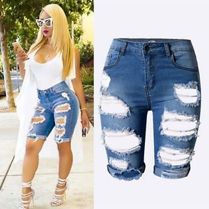 Special Women Ladies Denim Shorts Stretch Ripped Hole Denim Jeans Pants G9K