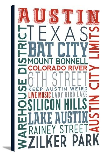 Austin, Texas - Typography - Lantern Press Artwork (16x24 Gallery ...