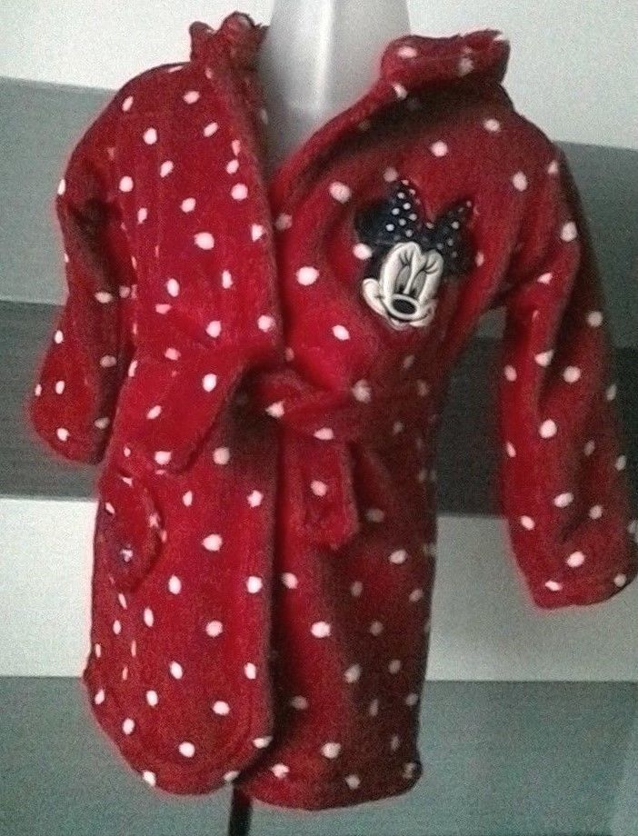 Baby Girls Minnie Mouse Dressing Gown 9-12 months | 12 months ...