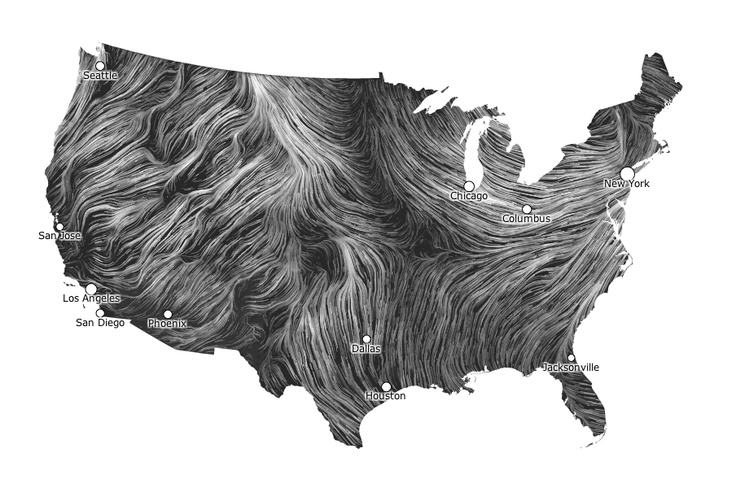 live wind map by wattenberg and viegas .  This map shows you the delicate tracery of wind flowing over the US.