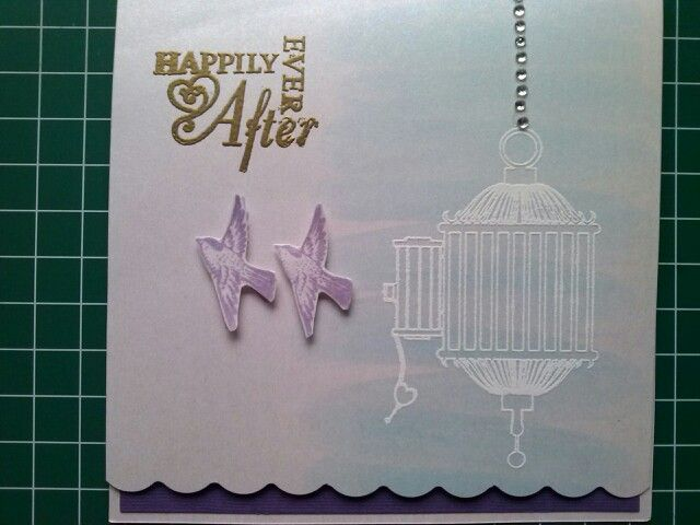 Wedding invite for M wedding 2013 made by Kathryn James using birdcage stamp from Kaszazz.