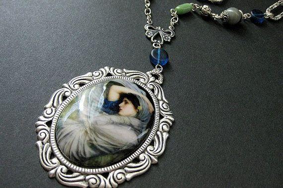 Art Nouveau Necklace. Waterhouse Necklace. Beaded Necklace.