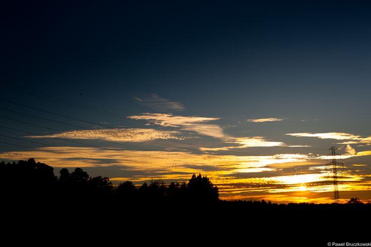 Autumn sunset near Warsaw, Poland