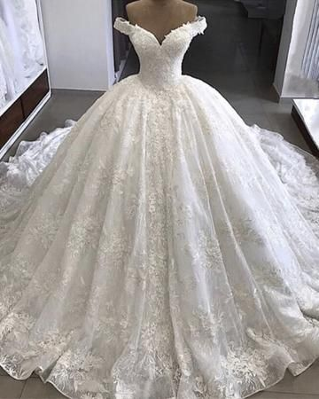 Royal Train Lace Wedding Dresses Ball Gowns Off-the-shoulder