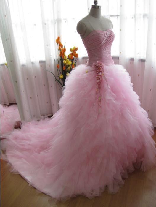 Pink Princess Ball Gown Pink Wedding Dress Ruffle Wedding by ieie, $349.00