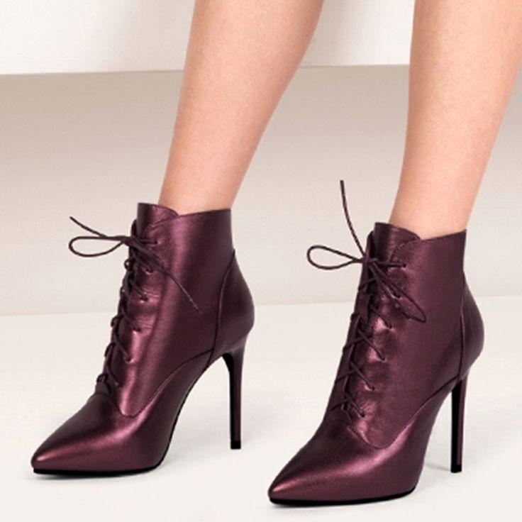 Shoespie Plain Color Lace Up Stiletto Booties