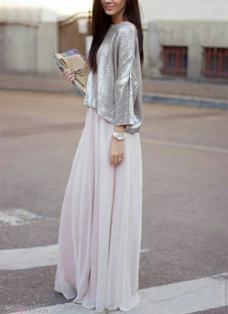 silver and chiffon, relaxed silhouette