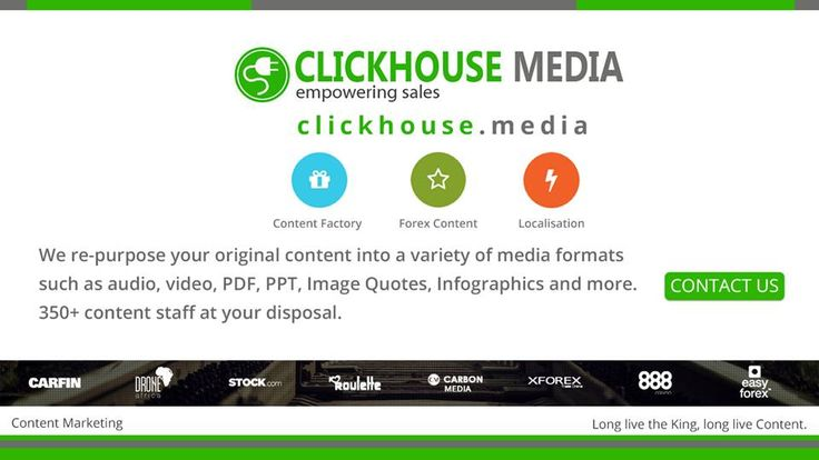 http://www.ClickHouse.Media/ - Clickhouse describes how repurposing will help you maximize your market's potential. Cash in on this amazing offer to turn your archived content assets into profits!  We  re-purpose your original content into a variety of media formats such as audio, video, PDF, PPT, Image Quotes, Infographics and more. 350+ content staff at your disposal - http://www.ClickHouse.Media/