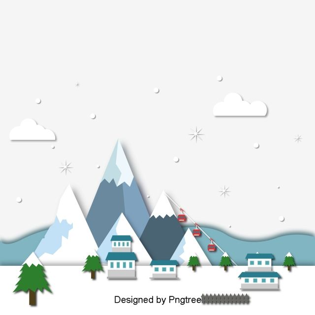 Vector Winter Snow Mountain Scenery Decoration Elements Cartoon Flat Cute Png And Vector With Transparent Background For Free Download Snow Vector Snow Mountain Winter Snow