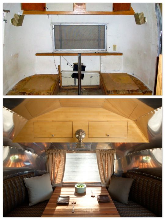 airstream-before+after: Airstream Dining, Vintage Trailers, Vintage Airstream, Apartment Therapy, Airstream Collage 3 Jpg Mor, Airstream Adventure, Airstream Before Aft, 61 Airstream, Airstream Trailers
