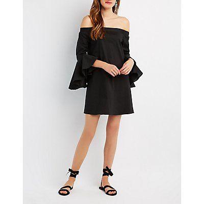 Black Bell Sleeve Off-The-Shoulder Shift Dress - Size S