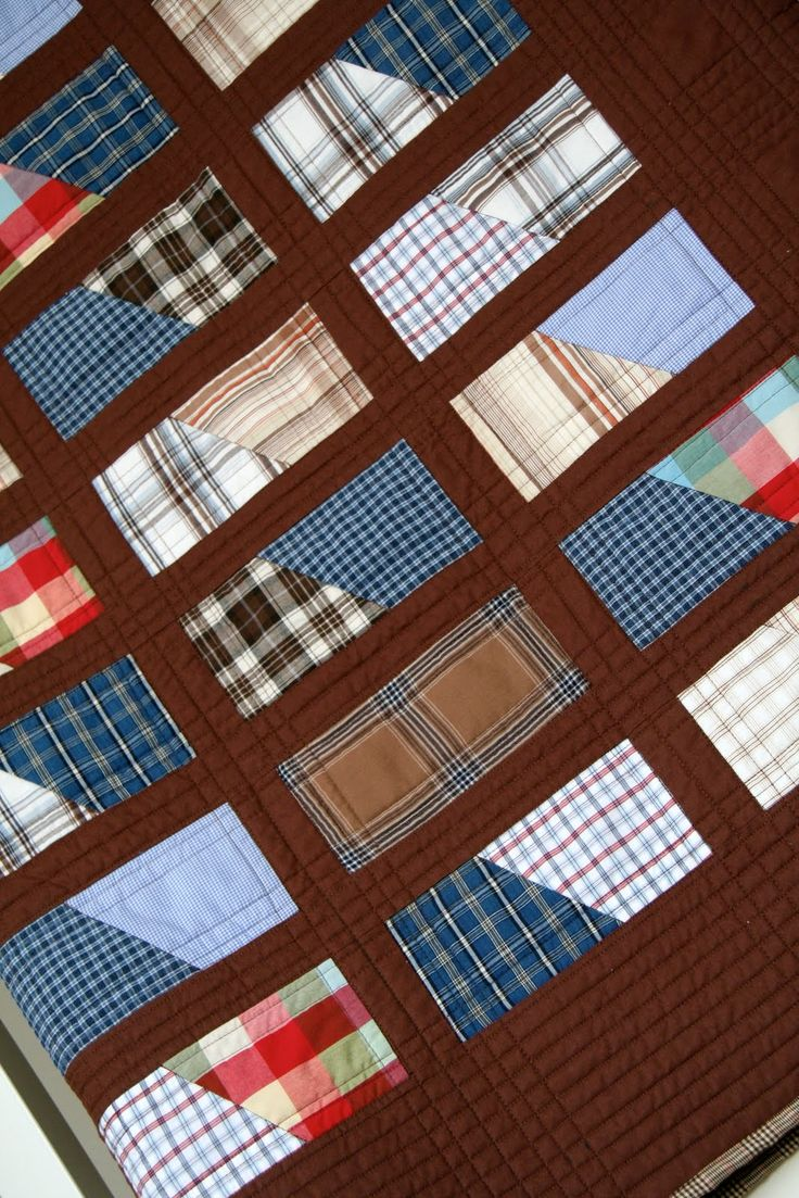 INSPIRATION: a keepsake quilt from 'dad's shirts'  (including his father's and grandfather's shirts)
