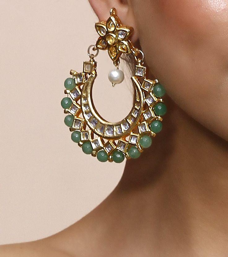 Green Stone & Kundan Embellished chaandbaalis
