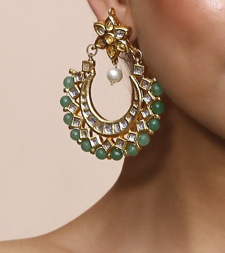 Green Stone & Kundan Embellished Alloy Metal Earrings