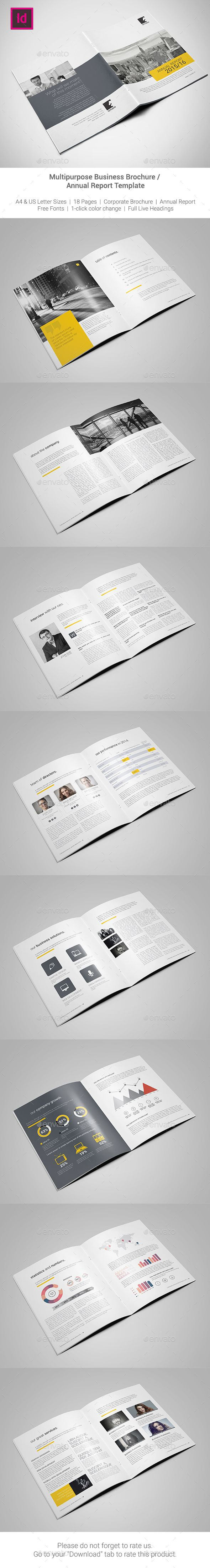 Corporate Brochure / Annual Report Template InDesign INDD #design Download: http://graphicriver.net/item/corporate-brochure-annual-report-template-/13437801?ref=ksioks