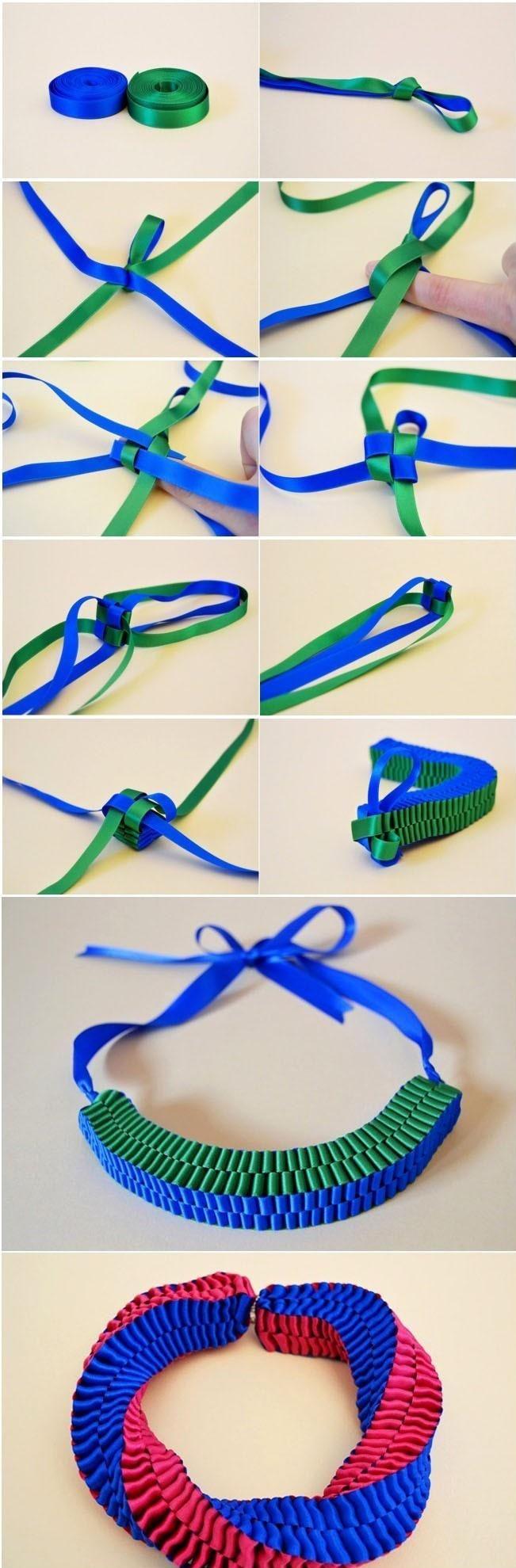 DIY Statement Ribbon Necklace/Bracelet by style.it via joypng Here is the original post http://www.style.it/moda/svaghi/2012/05/25/do-it-yourself.aspx#--Gallery_57833 #DIY #Bracelet #Ribbon