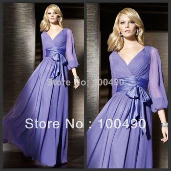 Vestidos De Fiesta Custom Made Lavender Chiffon Long Sleeve Cocktail Dress With Ribbons Muslim Formal Dress
