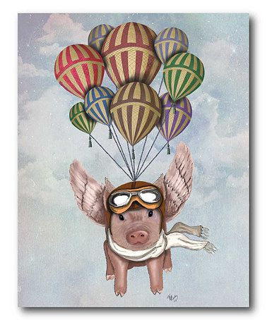 Pig & Balloons Wrapped Canvas #zulily #zulilyfinds