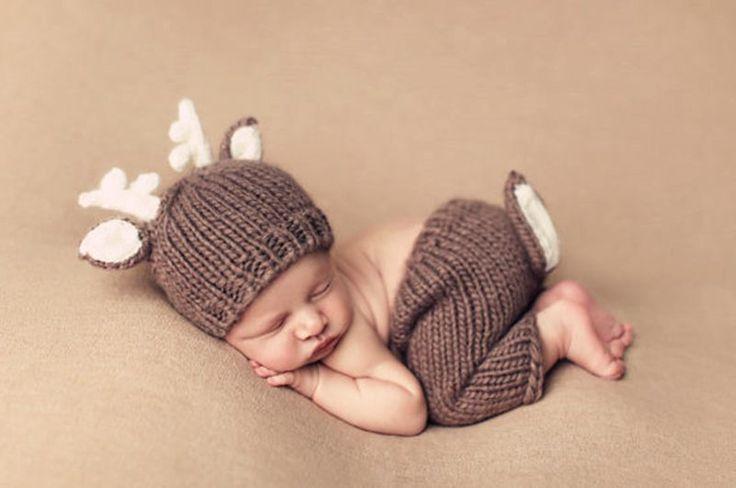 Padrão de veados Crochê Chapéu Do Bebê Recém-nascido Set Traje, Malha Bebê Recém-nascido Fotografia Props Animal Chapéus, Roupas de Bebê Natal, # P0563(China (Mainland))