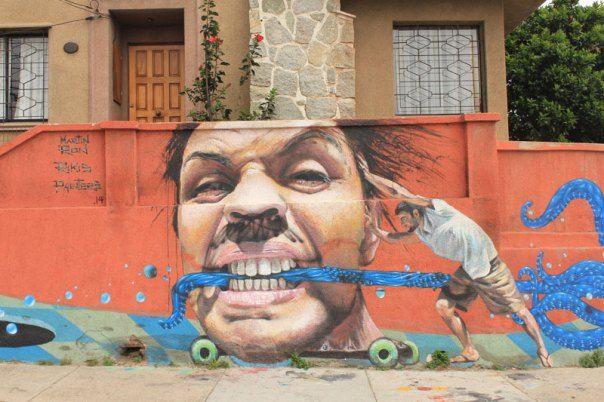 #Impulseearth #Valparaiso #Chile #Graffiti #Street Art #Face #Painting #Creativity #Argentina #Artist #Skateboard #Skating #Orange #Wall