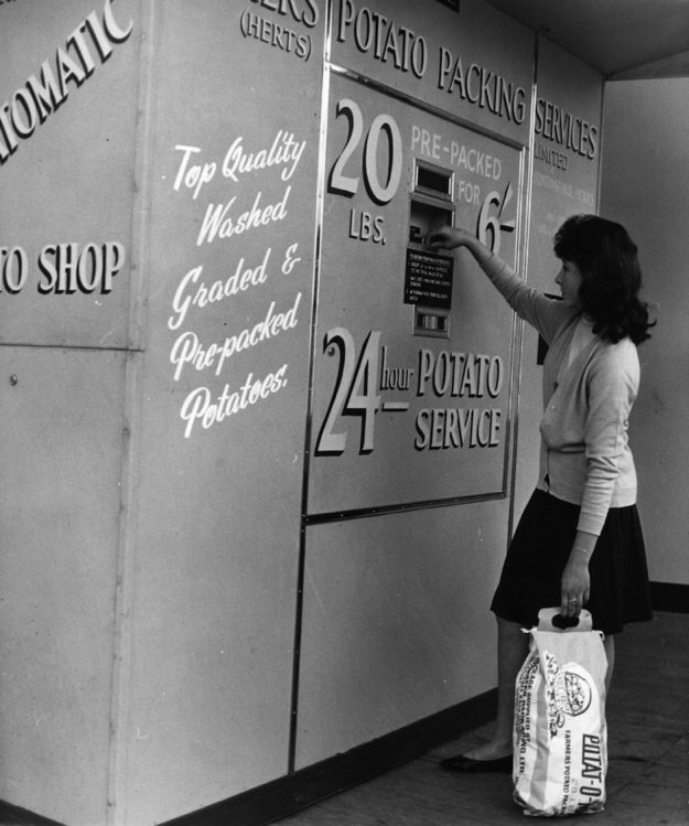 Potatoes 'round the clock are totally useful. | 15 Weird Vending Machines Of The '60s
