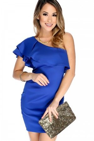 Sexy Royal Blue One Shoulder Sleeve Ruffled Accent Short Party Dress