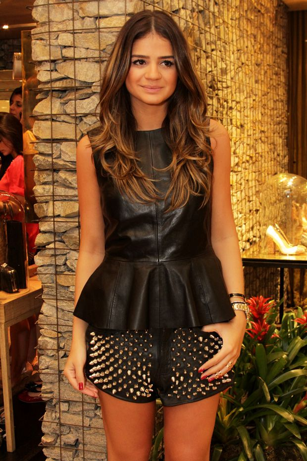 Leather peplum and studded shorts. Love this look!