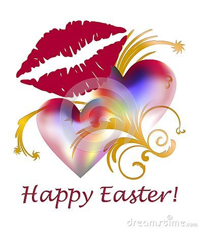 Happy Easter greeting card with two hearts and red lips.