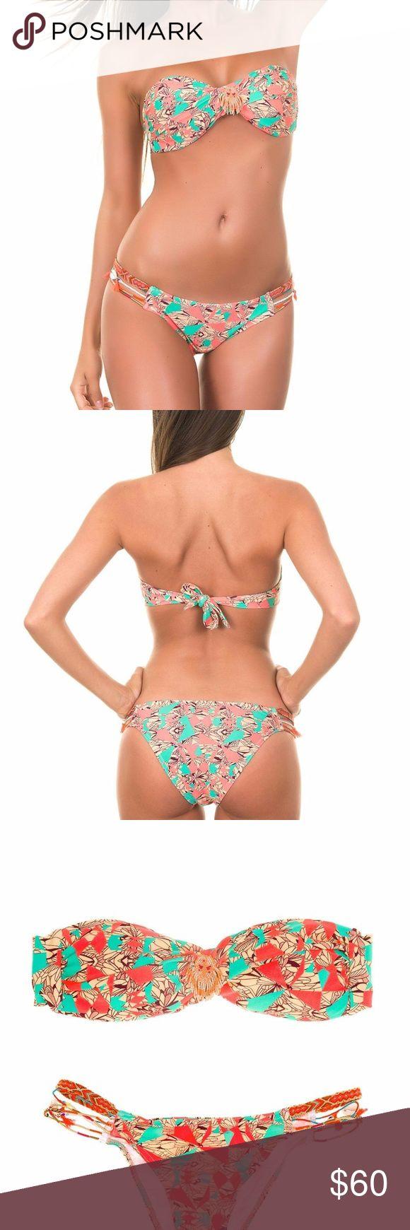Amenapih Women Plumteez Pink Bandeau Bikini NWT Amenapih women  Palmeez pink/coral  Bikini top bottom swim suit Size medium New with tags  AHS16 Amenapih Swim Bikinis
