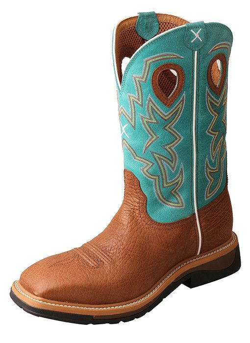 Twisted X Men's Cognac/Turquoise Sq Toe Lightweight Work Boots MLCW020