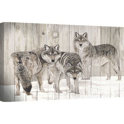 Ashton Wall Décor LLC 'Three Grey Wolves' Painting Print on Canvas
