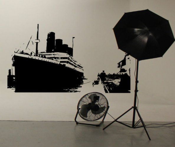 RMS Titanic Dockside Scene produced in Wall Sticker form by Wallart Studios to commemorate the centenary of the tragedy in 1912