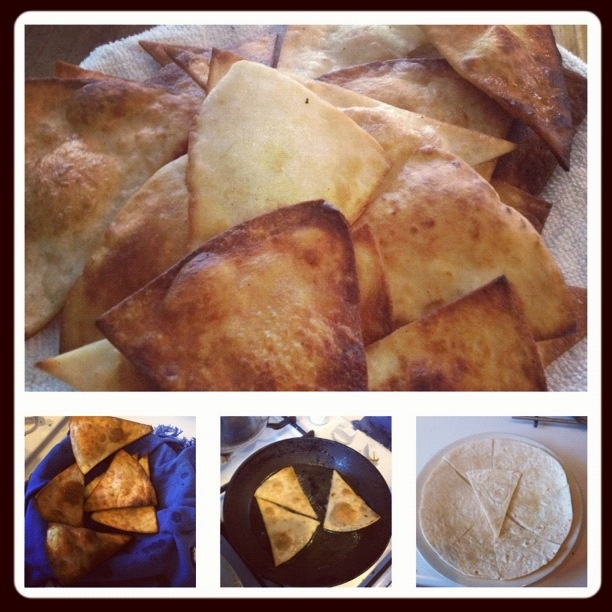 Home made tortilla chips. Cut tortilla wrap into equal sections(6 best). Fry in oil for seconds on each side till brown and crisp. Drain excess oil on a paper town and they are ready to eat. Taste amazing still warm. Toppings can be salsa, salt with garlic and black pepper or guacamole :): Excess Oil, Paper Town
