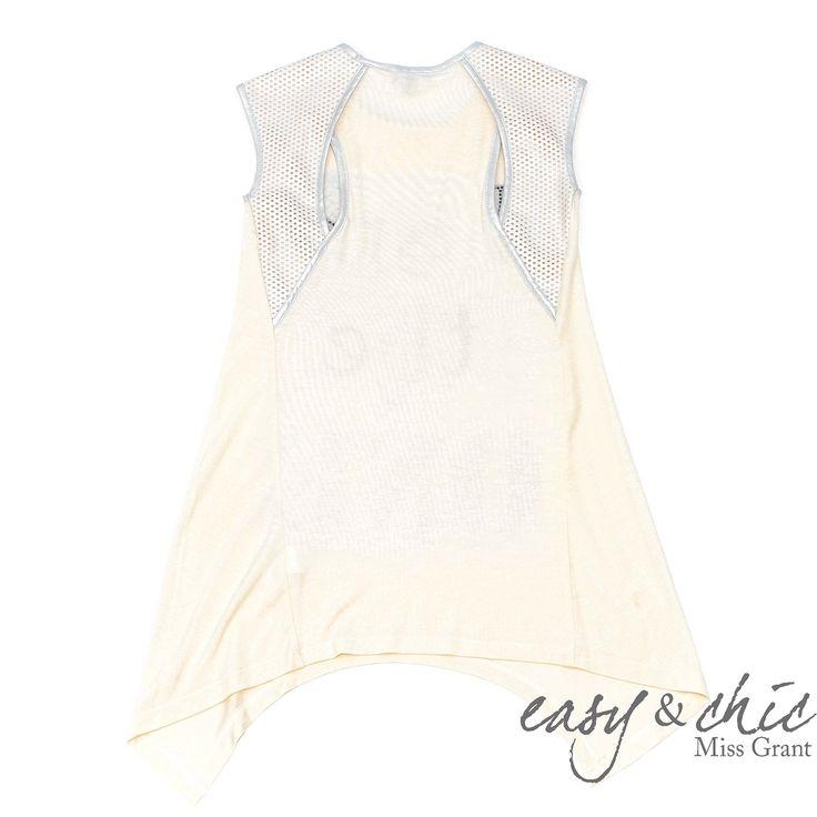 Asymmetrisk kjole med eco læder detaljer