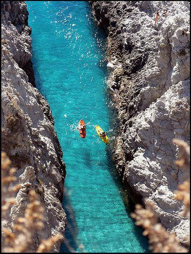 Kayaking in Capo Vaticano, Italy