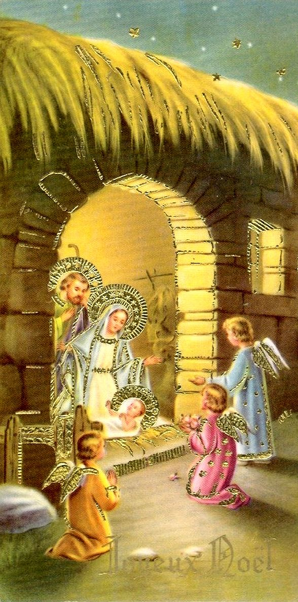 Mary and Baby Jesus with little angels outside the manger