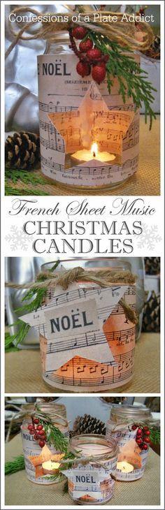 French Sheet Music Christmas Candles / Mit Notenpapier dekorierte Weihnachtskerzen
