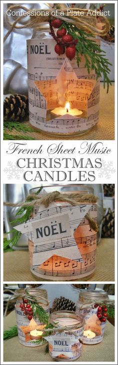 French Sheet Music Christmas Candles / Mit Notenpapier dekorierte Weihnachtskerzen