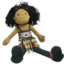 Aroha is a Maori plush, soft and bendable doll dressed in traditional Maori kapa haka costume. Her black hair is tied up in two ponytails.  She wears the kapa haka dance and song costume, with its woven bodice and flax piupiu skirt. Aroha is Maori for Love. Aroha stands approximately 33cm tall.