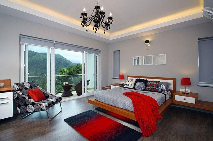 Camera da letto nelle tonalità rosso e grigio n.13