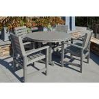 POLYWOOD Signature Slate Grey 5-Piece Plastic Outdoor Patio Dining Set