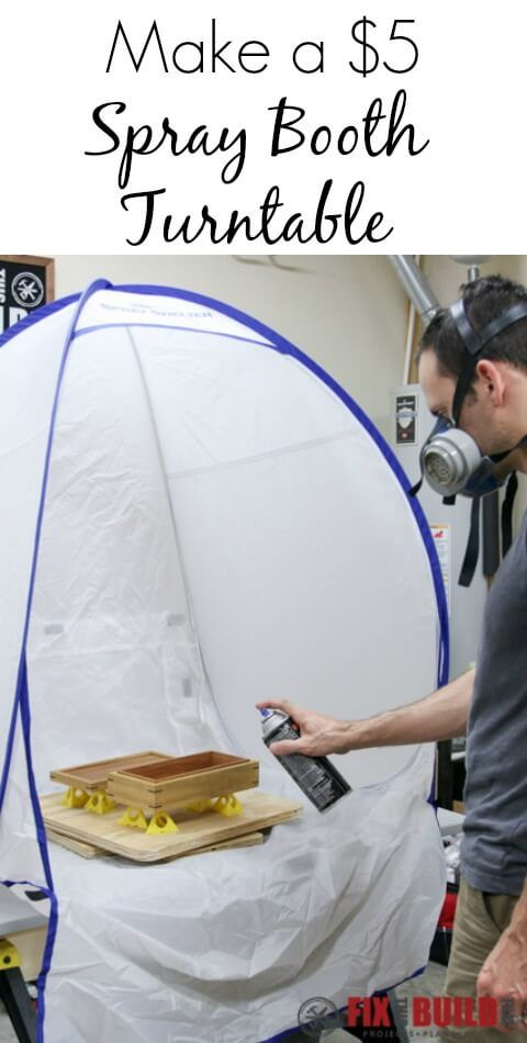 How to make a DIY spray booth turntable for spraying finish on your projects. Build the whole thing in under 1 hour for $5 of hardware & some plywood.