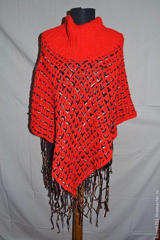 Купить Пончо, вязаное крючком, красного цвета, ленты - в полоску, вязаное теплое пончо
