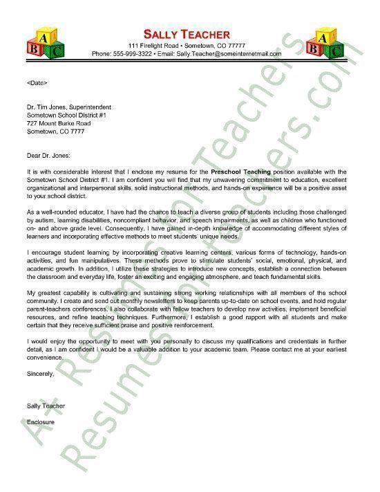 preschool teacher cover letter sample - Create A Cover Letter For A Resume