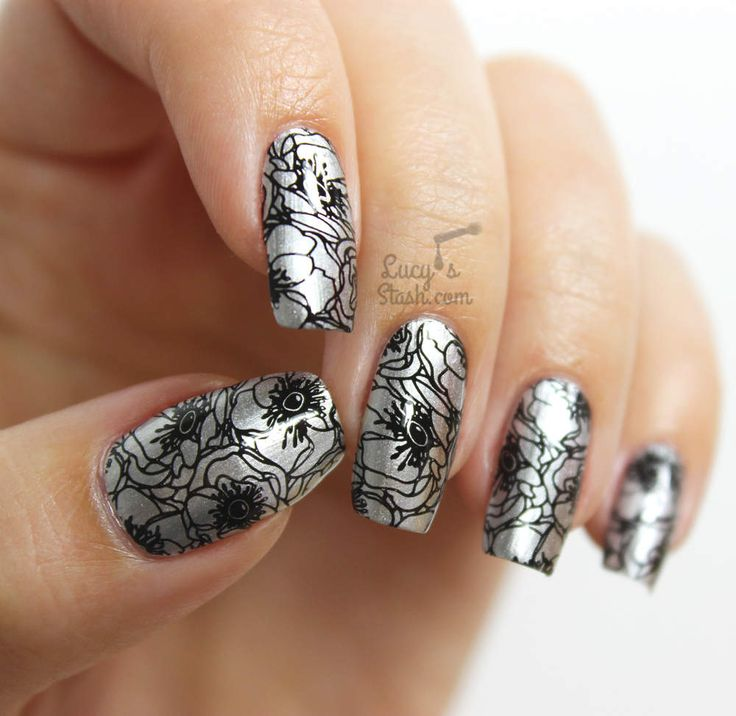 670 best stamping nail art design ideas images on pinterest silver black floral stamping nail art using bundle monster lucys stash collaboration stamping plate prinsesfo Gallery