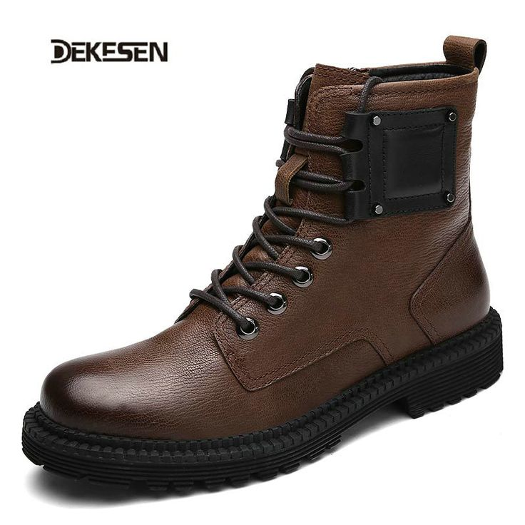 DEKESEN Fashion Men Shoes, Genuine Leather Winter Boots for Man, Waterproof Motorcycle Boots, Men Comfortable Ankle Boots #Affiliate