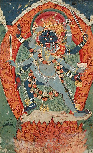 Kali and Bhairava (the terrible form of Shiva) in Union, 18th century, Nepal
