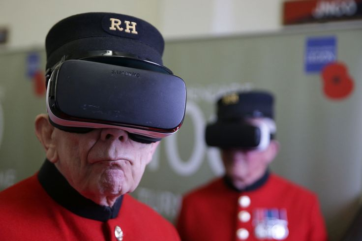 Chelsea pensioners John Kidman, 87, (left) and Bill 'Spud' Hunt, 83, wear Virtual Reality headsets during the Royal British Legion launch of the Battle of Passchendaele virtual reality content at the Household Cavalry Museum in Westminster, London, on July 25, 2017.